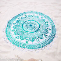 Hippie Round Tapestry Ombre Mandala Indian Bohemian Beach Picnic Throw Yoga Rug