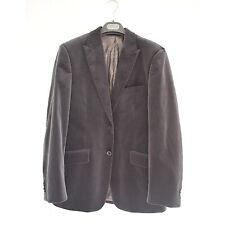 Martin Gordon Mens Lined Velvet Pinstripe Peak Lapel Blazer Jacket Gray Sz M