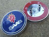 SAAB 68mm BOOT TRUNK REAR BADGE Emblem 2 PIN 93 95 9-3 9-5 2003-2010