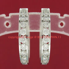 Real Genuine Solid 9ct White Gold Huggies 18mm Hoop Engagement Wedding Earrings