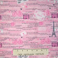 France Fabric - Paris Eiffel Tower & Words Pink - Timeless Treasures YARD