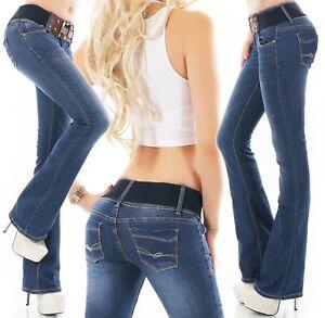 Sexy Women's Boot cut Jeans soft stretch Denim Blue Faded + Belt UK  6-14