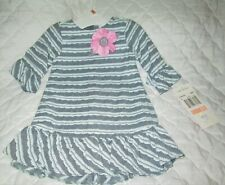 NWT  RARE EDITIONS Girl's Size: 2T   GRAY/LGT GRAY / PINK LONG SLEEVE DRESS