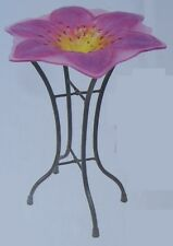 "Bird Feeder Bath Pink Lily Glass with metal stand NEW 11 1/2"" in diameter"