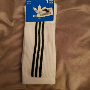 Adidas Socks white and gray with black stripes. 6-12 crew