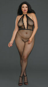 One Size Fits Most Queen Womens Plus Size Pretty Please Mesh Bodystocking