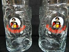 Schultheiss Dimple Glass Beir/Beer Mass Krug Stein/Mug 40 oz/1 L. 8� Euc Rare 2x