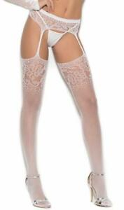 Crochet Suspender Pantyhose Floral Hosiery Nylons White 1349