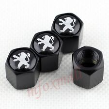 4X Black Car Wheel Tire Tyre Valve Dust Cap Cover Trim For Peugeot 301 208 308