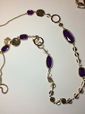 CHICO'S Single Strand Long Necklace Purple Bezel Beads Gold Chain NWOT Signed