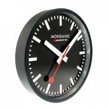 MONDAINE Wall CLOCK black, Diameter 9 13/16in A990. CLOCK. 64SBB