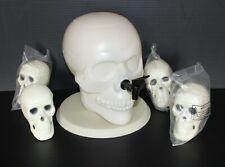 NEW Skull Beverage Dispenser w/ 4 Matching Skull Cups Halloween Skull Decanter