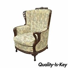 Antique Mahogany French Hollywood Regency Style Fireside Wing Back Lounge Chair