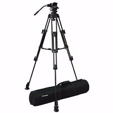Pro Heavy Duty Video Camera Aluminum Tripod Fluid Pan Head Kit with Handle Arm