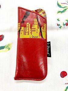 L. Durand Sunglass & Eyeglass Case Red Soft Leather Cityscape Stiletto