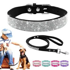 Bling Rhinestone Dog Collar & Leash Set Diamante Extra Soft Dog Necklace Female