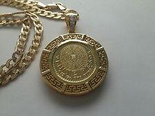 Aztec Calendar Veinte Pesos Gold Plated Pendant and Necklace Centenario Mexico