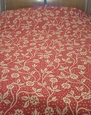 "Vintage Cannon USA Queen Bed Cover Woven Floral Bedspread Red & Peach 100""x116"""