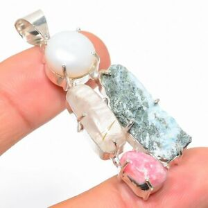 "Larimar Rough, Pearl Gemstone Handmade Ethnic 925 Silver Jewelry Pendant 2.25"""