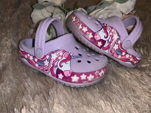 CROCS Unicorn Shoes Toddler Girls Size 6C Purple Water Sandal