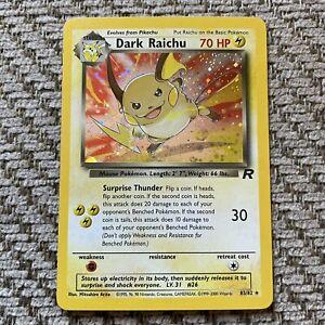 Pokemon Dark Raichu 83/82 Team Rocket Holo Secret Rare W/Swirl