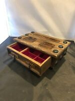 Vintage Antique Hand Musical Wooden Jewelry Box Japan Hand-Carved Velvet Drawers