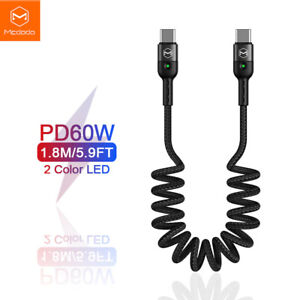 Mcdodo Spring Coil Type C to Type C Cable QC4.0 3A PD 60W Fast Charge Data. 1.8m