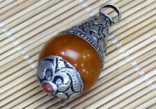 Pair Tibetan Coral Sterling Silver Repousse Cap Beeswax Amber Pendants Beads