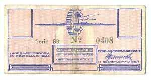Netherlands SS Camp Westerbork 10 Cent 1944 VF RARE