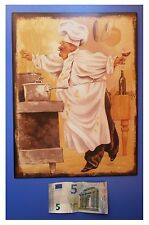 "Targa vintage ""Cuoco con pentole"", metallo, cm 33x25"