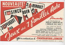 ANCIEN BUVARD CHOCOLATERIE UNION JEU SIMCA RENAULT PEUGEOT chocolat BLOTTER
