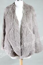 NEW 100% RABBIT FUR DRAPE FRONT LONG SLEEVE JACKET TAUPE FREE SIZE