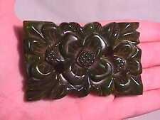 Vintage Large Carved Flower Green Bakelite Pin Brooch