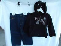 BNWOT Boys Sz 2 Fubu Brand Blue Denim Jeans and Black Hoodie Jacket Set