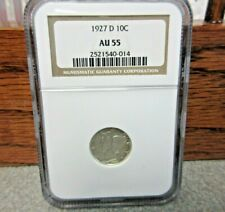 1927-D Winged Liberty or Mercury Dime NGC : graded AU 55: BUY-IT-NOW