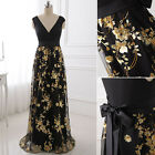 Black V-neck Formal Women Party Evening Sequin Dresses Mother of the Bride Gowns