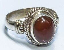 Sterling Silver Traditional Asian Vintage Style Carnelian Stone Ring Size N Gift