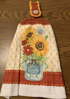 Double Sided Crocheted Top Spring Sunflower Live Simply Dish Hanging Towel