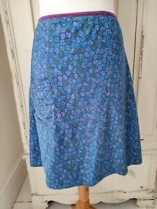 SEASALT Skirt 'NALINI' size 14 Blue Ditsy pattern Floral Aline Cotton Summer