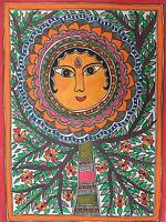 Original Madhubani Mithila Paintings Green Goddess Handmade Indian Folk Art