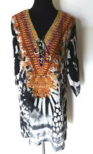 ANIMAL PRINT HEAVILY EMBELLISHED DESIGNER MINI V NECK SILK CREPE KAFTAN 2 SIZES