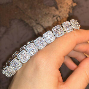 "5 Ct Round Simulated Diamond Silver Men's Cluster Tennis Bracelet 8.5"" Inch 10mm"