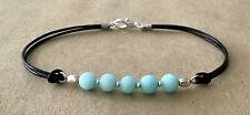Silver Plated, Charm Friendship Bracelet Amazonite Beads, Black Leather Cord,