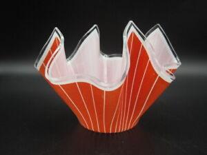 Vintage Retro Orange-Red Chance Glass Handkerchief Vase. c.1950's