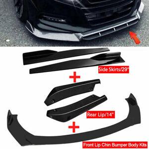 Gloss Black Side Skirt +Rear Lip+Front Bumper Lip Spoiler For Honda Civic Accord