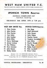 West Ham United Football Reserve Fixture Programmes (1960s)