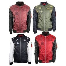 Men Jackets Patches Aviator Jacket Airplane Patch Side Zipper 2 Tone Heavy Weigh