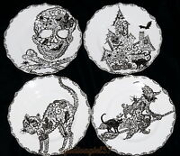 222 Fifth Wiccan Lace 4 SALAD PLATES Halloween, Witch Cat House Skull, New/Box