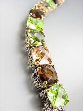 STUNNING Designer Silver Gold Balinese Brown Topaz Olive CZ Crystals Bracelet