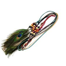 Peacock Feather Suede Strap Necklace Extra Long Holiday Wood Beads